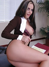 Dark haired secretary Mikayla takes off her strict uniform and peels off her sexy lingerie