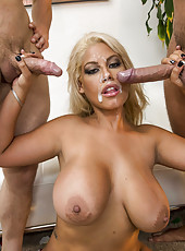 Threesome scene with fabulous blonde milf Bridgette B and a pair of huge dicks