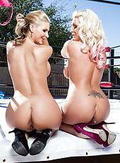 Giggly milf Phoenix Marie posing with her best lesbian friend Sadie Swede