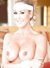 Well-known milf Brandi Love practicing sports and playing with big tits