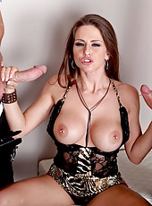 Brave pornstar Rachel RoXXX enjoying two big cocks and reaching multiple orgasms