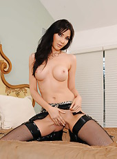 Cocky babe Diana Prince posing in high heels and rubbing shaved vagina