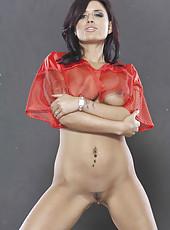 Obedient girl Eva Angelina likes to show juicy melons and masturbates hard