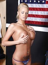 Plush milf Jessica Nyx taking off panties to show wet pussy and masturbate