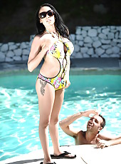 Busty Breanna Sparks trying to please her best friend at the pool