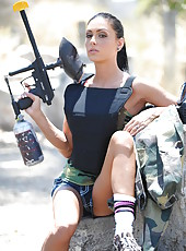 Wild whore Jessica Jaymes getting naughty outdoors and taking off clothes