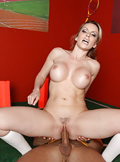 Snazzy pornstar Courtney Cummz riding a big cock and getting a cumshot