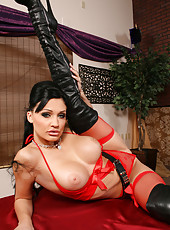 Your favorite pornstar Aletta Ocean posing in red lingerie and spreading vagina