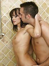 Petite slut Cecilia Vega having fun with her friend and making a blowjob in bath