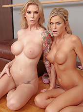Two milfs Brooke Banner and McKenzee Miles making a real double blowjob