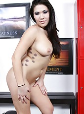 Lucky Asian London Keyes posing in awesome lingerie and masturbating