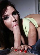 Extremely hot brunette milf with big boobs Emma Leigh gets fucked in her gorgeous shaved pussy