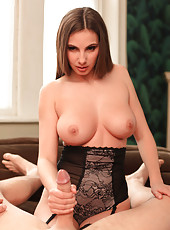 Tenderness babe with gentle big tits and curvy figure Connie Carter fucks with her boyfriend