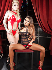 First-class babes with huge breasts Christy Mack and Madison Ivy share a big cock