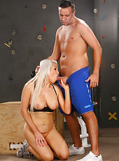 Buxom blonde milf Nikki Phoenix get a hot training for her shaved pussy