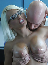 Awesome sex bomb Jacky Joy fucks bald man with a powerful big cock