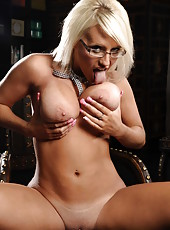 Jacky Joy is a super gorgeous blonde milf in sexy glasses with huge breast