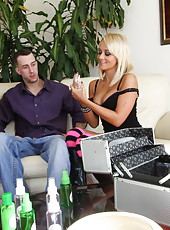 Fabulous blonde milf Briana Blair fingers, rides and gets fucked in the doggystyle