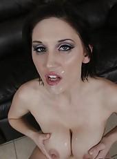 Dangerous brunette milf Mindy Main facialized after hardcore fucking action