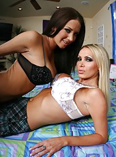 Two first-class buxom milfs in sexy skirts Jayden Jaymes and Nikki Benz become wild