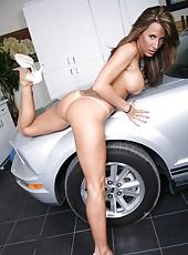 Busty girlfriend Lezley Zen rubs her big tits and undresses sweet panties