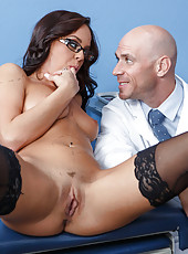 Pretty milf Rahyndee James takes a big cock and gives a hot blowjob