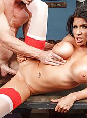 Hardcore scene with an elegant and crazy brunette nurse Romi Rain