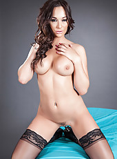 Pretty dark haired bitch Destiny Dixon looks so hot in the black lingerie
