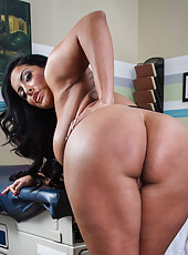 Dangerously big tits and massive ass by appetizing brunette milf Kiara Mia