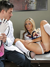 Gorgeous and innocent-looking babe with big tits Tasha Reign fucked in the ass by a doctor