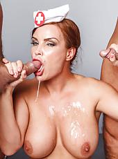 Hardcore double penetration for mature nurse in sexy uniform - Diamond Foxxx