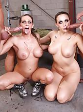 Hardcore and slutty lesbian milfs Chanel Preston and Rachel RoXXX attacked soldiers