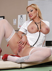 Amazing blonde bombshell with big boobs Shyla Stylez is a nurse in the local hospital