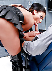 Long haired brunette minx Tiffany Brookes fucked in her super sexy leather boots