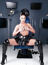 Charming and seductive cougar Tiffany Brookes in super hot latex nurse uniform