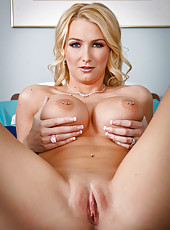 Blonde with miniature shaved pussy and big round tits Blake Rose poses hot