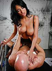 Brunette milf with big tits Anissa Kate knows how to help this bad man with big cock