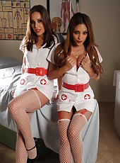 Two super hot nurses in sexy uniform Gracie Glam and Melanie Rios seduced lucky patient