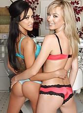 Brunette Breanne Benson and blonde Jeanie Marie Sullivan in the hospital striptease scene