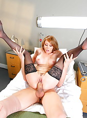 Hot doctor with big tits and sexy tattoos Monique Alexander knows that this patient has a big cock