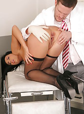 Sexy long haired brunette doctor Melissa Ria fucking with her new colleague