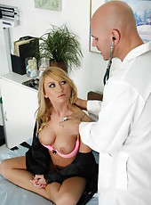 Blonde patient Madison Scott has beautiful big tits and gorgeous vagina but gets fucked in the ass