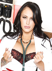 Smoking hot and gorgeous doctor Jenna Presley takes off her hot uniform and exciting lingerie