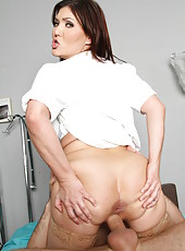 Tattooed and buxom doctor Claire Dames gets fucked between her sweet butt