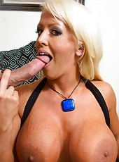 Finger licking tasty milf Alura Jenson making a titjob and getting pounded