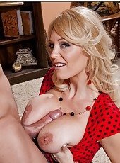 Playful minx Charlee Chase swallowing her friend