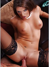 Astounding and horny lady Madelyn Marie looks awesome in black stockings