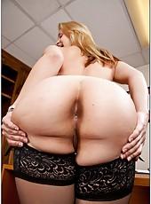 Naughty blonde Sarah Vandella rubs her big delicious tits and sucks a dick