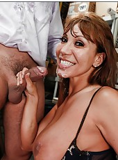 Fatty milf Ava Devine demonstrates her huge boobs and takes a dick in the mouth