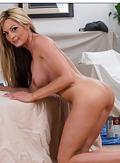 Appealing model Sindy Lange showing juicy tits and getting fully naked